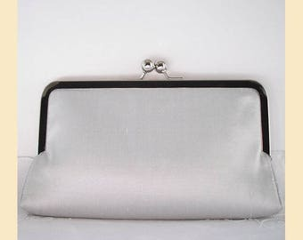 Wedding clutch bag in pale silver silk with antique brass or silver frame, handmade bridal purse, optional personalisation