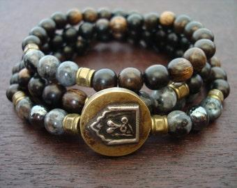 Men's Naga Protection & Prosperity Mala // Black Moonstone and Hematite Mala Necklace or Wrap Bracelet // Yoga, Buddhist, Jewelry