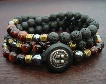 Men's Vishnupada Vitality Mala // Lava Rock & Red Tigers Eye Mala Necklace or Wrap Bracelet // Yoga, Buddhist, Prayer Beads, Jewelry