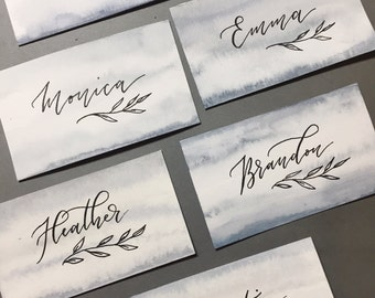 Handpainted Stormy Blue Place Cards