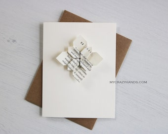 3 origami cards || origami flower greeting cards || wedding card || anniversary card || A2 cards with envelopes -book page petal