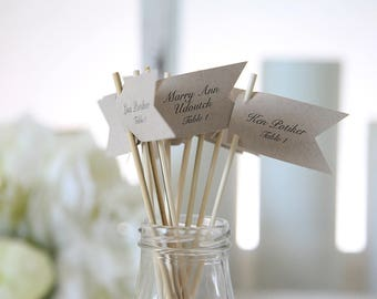Escort Cards / Drink Stirrers / Drink Tags / Flags / Wedding Drink Tags / Customizable