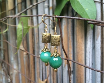 Elegant Green & Gold Gemstone Earrings