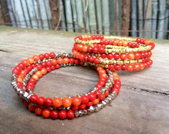 Wrap Bracelet in Orange & Red