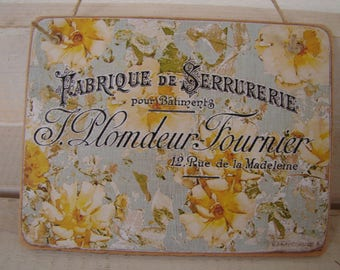 French text on shabby vintage wallpaper image applied to wooden tag, dresser or door hanger