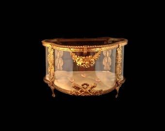 Antique French Large Gold Ormolu & Glass Display Casket, Jewellery Box / Bridal Vitrine, Romantic Wedding Keepsake, Heirloom, Token of Love