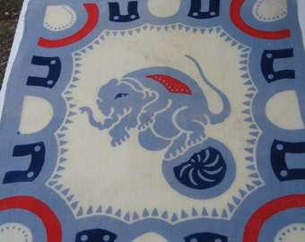 Circus Elephant Child's Hankie Mid Century As Is Red Off White Blue Cloth Blend Faint Stain Loose Thread Great Image Free US Ship C Details