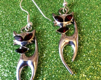 Contemporary Funky Cat Earrings for Pierced Ears set with red marquise stones-Gifts for her-Ladies Jewellery-Modern Jewellery-Ladies Gifts