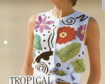 2 x  Knitting Patterns - The Creative Needles Ladies Tropical Sundae Sleeveless Cardigan & Zig Zag Zany Cardigan, Original Pattern Sheet