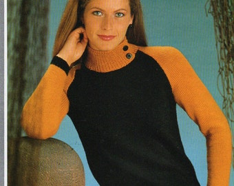 Knitting Pattern - Hayfield 1516 - Double Knit High Button Neck Sweater 32-40""