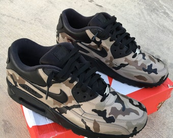 Camouflage Nike Air Max 90 - Custom Painted Sneakers 'Desert Camo
