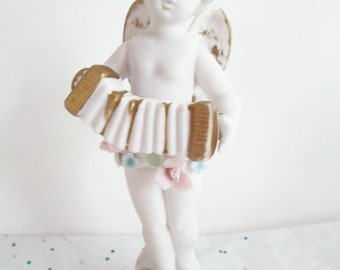 Vintage Pair of Napco Bisque Angel Cherub Bisque Musical Figurines