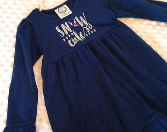 Snow Cute Navy with Silver Glitter Dress - Baby Girl or Toddler Girl Dress - Winter or Christmas Dress