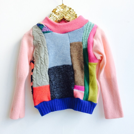FOLD Kids 1-2 Years Jumper Sweater Patchwork Top Double Layer in Cashmere Handmade Upcycled Unisex