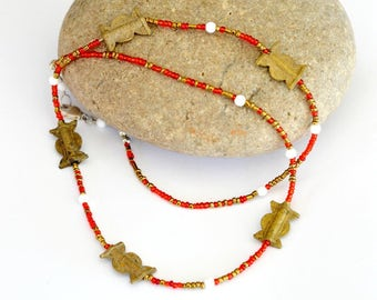 Red beaded necklace, African necklace, African red necklace, Brass necklace, Ethnic necklace, African ethnic necklace, Beaded red necklace