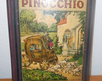 Antique Pinocchio Book 1917 by C Colldi with 8 Colorful Lithograph Prints