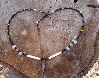 """beads and bones choker necklace. 18"""""""
