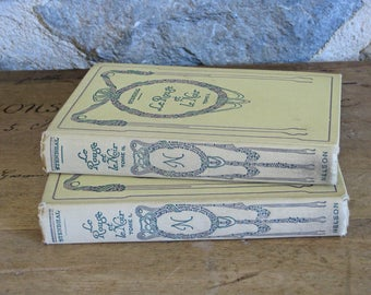 Decorative French books 2 cream and green Nelson Editions Le Rouge et Le Noir by Stendahl