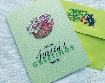 Season's Greetings Christmas or Yule Handmade Card - Handmade Cards