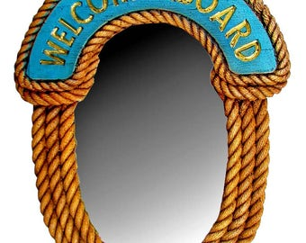 Nautical Welcome Aboard Rope Wall Mirror