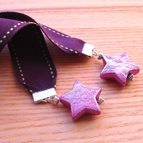 Ribbon Bookmark, Purple Star Bookmark, Unique Teacher Gift, 18th Birthday Gift for Sister, Stocking Filler, Beaded Bookmark, Gift for Her