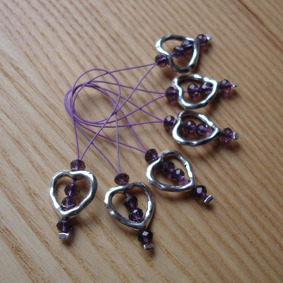Glass Stitch Markers - Snag Free Stitch Marker Set of 6 - Heart Charm Purple Crystal - Knitting Tools - Gift for Knitters, Yarn Lover