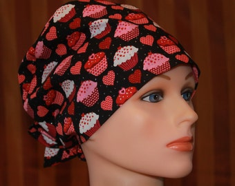 Tie Back Scrub Hat/Chemo Hat/Womens scrub hat/Surgical Scrub Hat--Sweet on You