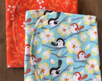 Cotton Baby Girl Burp Cloths - Set of 2 - Baby Shower Gift - Baby Gift