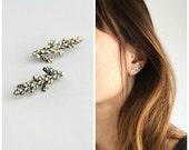 Cedar ear climbers sterling silver botanical earrings