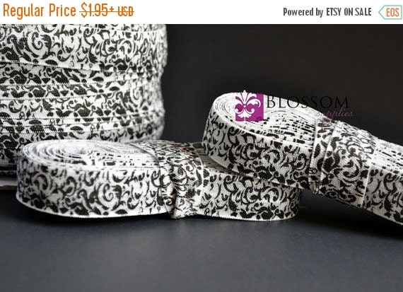 HOLIDAY SALE 2 or 5 Yard Increments - Black & White Damask 5/8 Inch Printed Fold Over Elastic - foe - diy Baby Headbands And Emi Jay Hair Ti