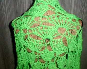 Bright Green Shawl *Boho*Shabby Chic* Unique!
