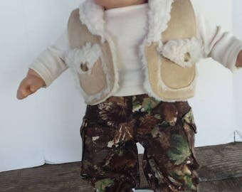 "American Girl 15 ""Bitty Twins Bitty Baby  Doll Clothing - Camouflage Sherpa Vest, Cargos and T shirt Boy doll"