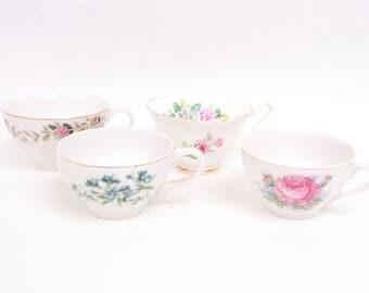 Vintage Floral Teacups Instant Collection Set of 4 Tea Cups Japan England Tea Party
