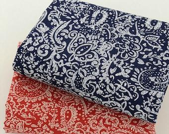 Half Yard Cotton poplin, Retro patterns,2 colors for choice red & dark blue/ navy blue,diy,fabric (C29new)