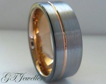 Tungsten Wedding Ring,Brushed Rose Gold Tungsten Ring, 6mm, 8mm, 10mm, Engagement, Mens Womens Tungsten Ring, CustomTR81