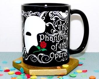 Phantom Of The Opera Mug, Bookish Mug In Black, Mask, Rose, Masquerade Coffee Cup, Musical Opera Mug