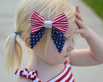 Fourth of July bow, red white and blue bow, hair clip, patriotic, hair bow