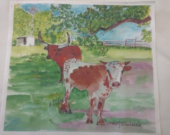 "Longhorns - Art On Fabric by Kathleen McElwaine - Texas - 9""x10"" Kona Cotton - 1 Block"