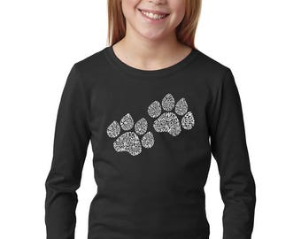 Girl's Long Sleeve T-Shirt - Dog Paw Prints created out of the Word Woof