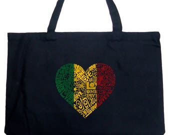 Large Tote Bag - Created using the Words One Love Heart