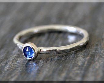 Sterling Silver Swarovski Sapphire Ring, September Birthstone Stacking Ring, Mini Swarovski Ring, Sapphire Stacking Ring, Birthstone Ring