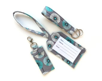 Travel Accessories Set- Luggage Tag, Chapstick/ USB Drive Holder, Keychain Wristlet- Organic Fabric- Gray with White and Blue Flowers-