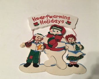 snowden raggedy ann and andy heartwarming holidays wooden christmas sign
