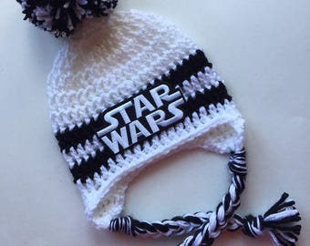 Star wars hat with earflaps and pom pom