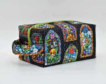 Zelda Quilted Cosmetic & Toy Storage Bag with Handle, Boxy Pouch; Link in Stained Glass; Shave Bag; Boxy Bag; Toiletry Bag; Make-Up Bag