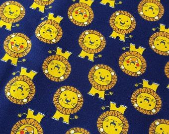 Cute lion monogram fabric in navy blue, boys fabric, cartoon illustration, made in Japan, fat quarter