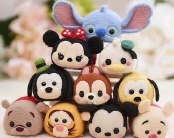 4 Tsum Tsum Needle felting kits - choose your characters, wool felt kit, Disney characters, Mickey, Minnie, Pluto, Chip, Dale, Stitch