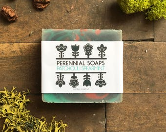 Patchouli Spearmint Soap - Vegan Artisan Soap with Shea Butter, Cocoa Butter and Essential Oils