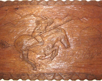 Native American Indian on a Horse Wood Carving Relief Carving