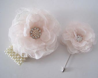 Gorgeous Light Blush Pink Chiffon with Lace Wrist Corsage Boutonniere Set with Pearl Rhinestone Accent Prom Homecoming Winter Formal Wedding